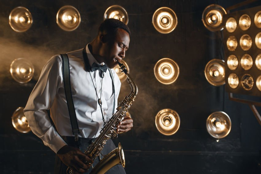 Saxophone player on a stage
