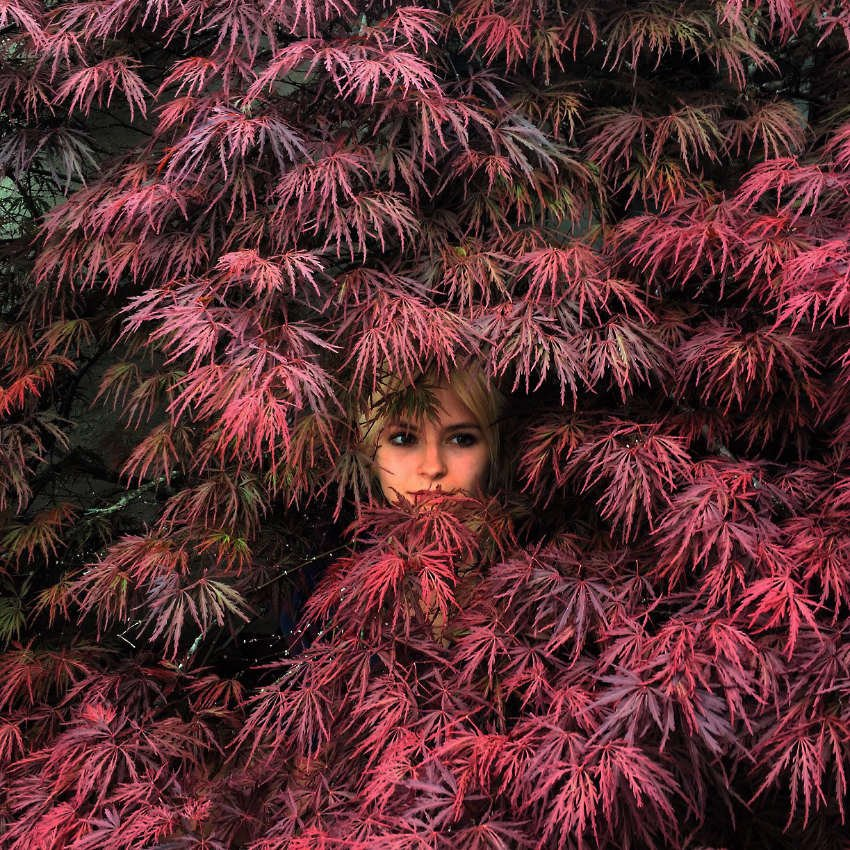 Woman emerging from dense foliage