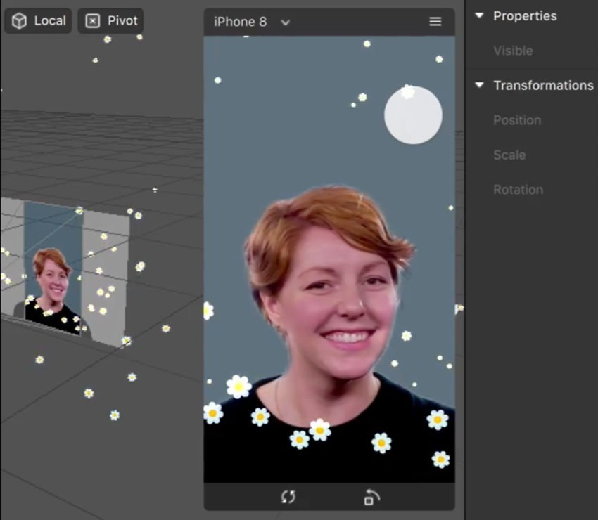 Particle effects workflow interface in Spark AR