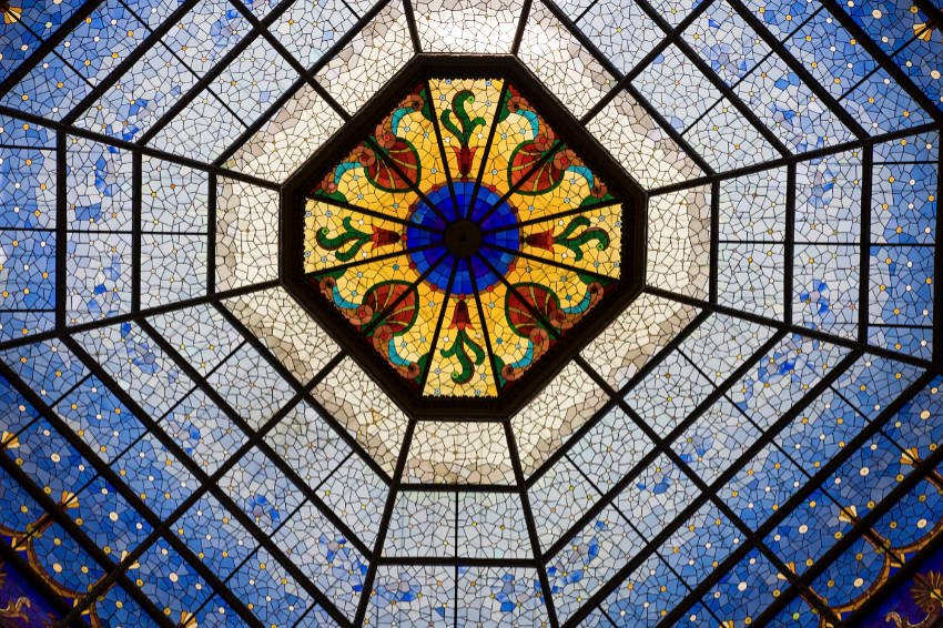 Intricate stained glass dome