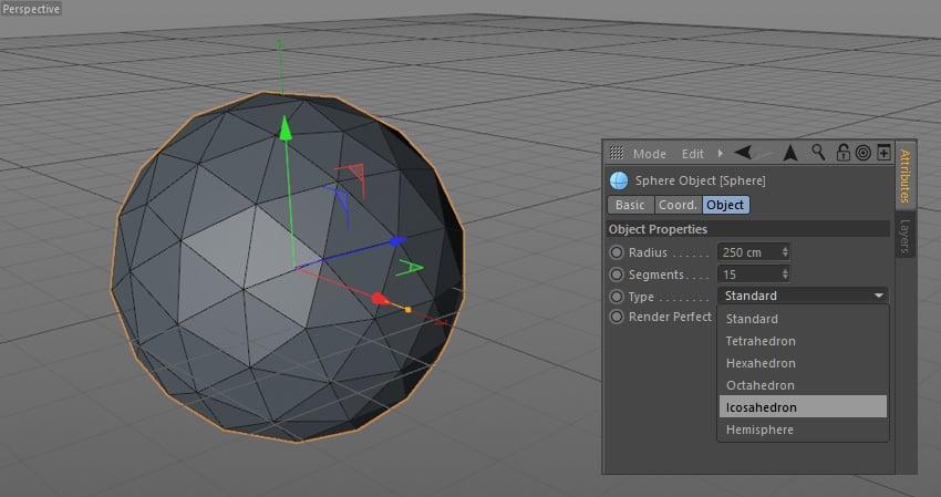 Choosing icosahedron in sphere object menu