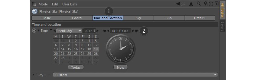 Time and location options for physical sky
