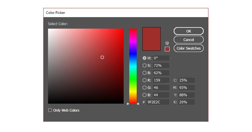 Red colour to fill your rectangle with using the colour picker