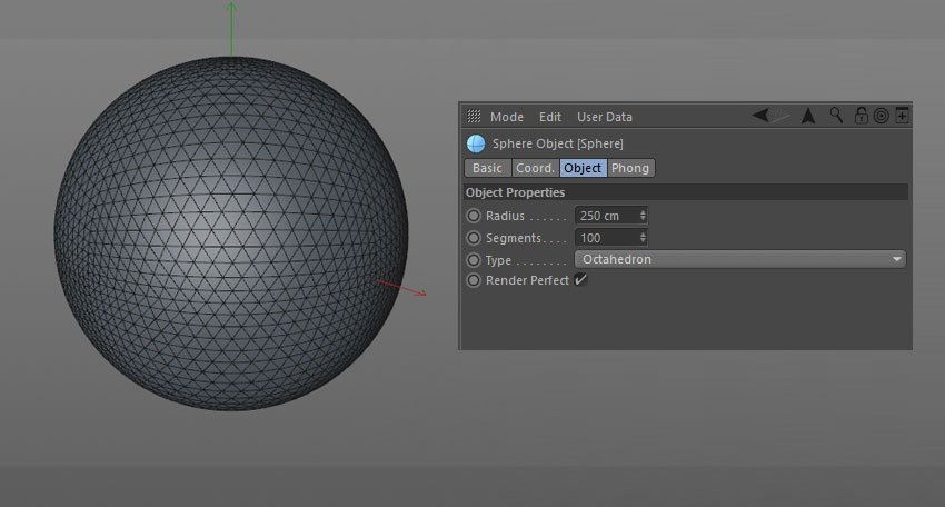 Editing the Sphere parameters in the object options