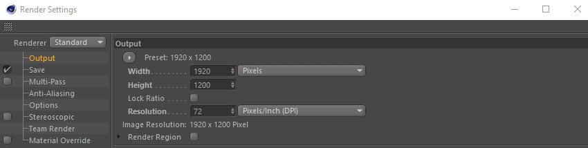 Choosing Output settings
