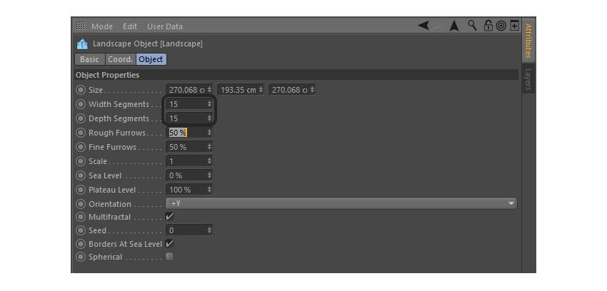 Editing width and height segments from the landscape