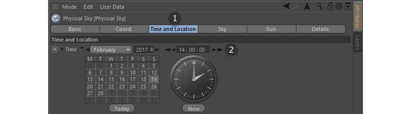 Choose lighting using Time and Location tab