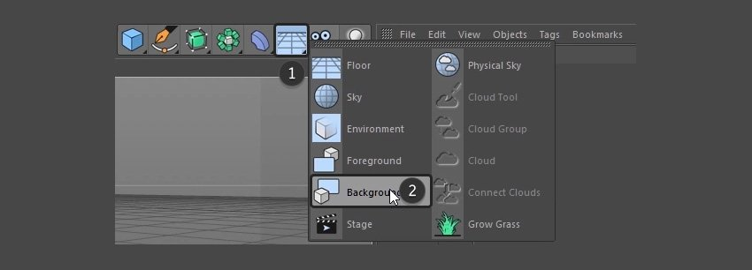 Selecting Background from the menu