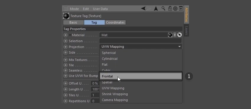 Selecting Frontal from the dropdown menu