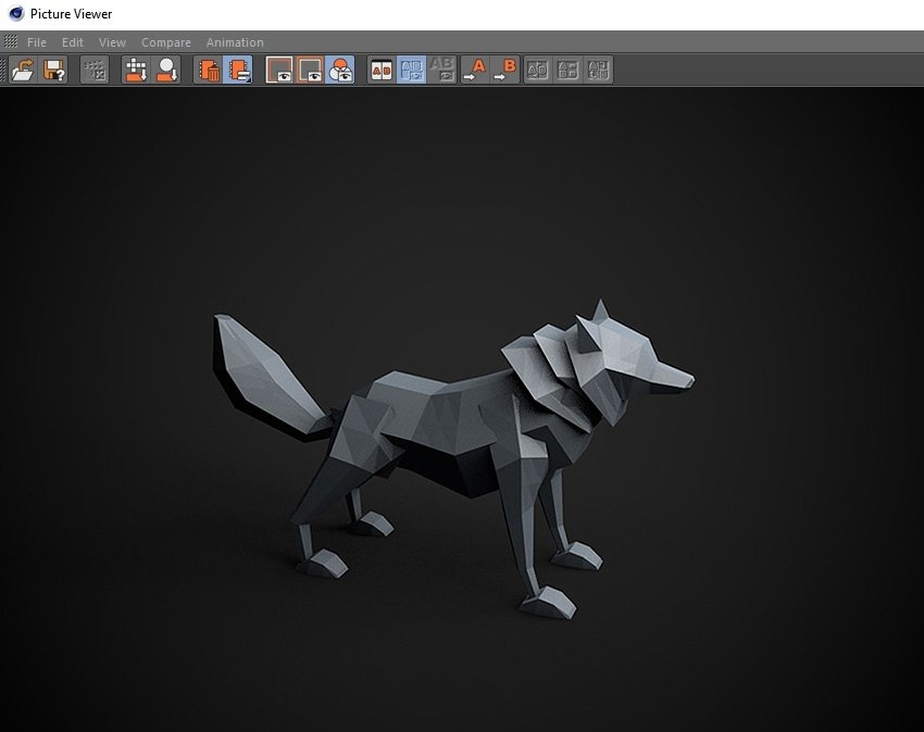 Final render of the low poly wolf
