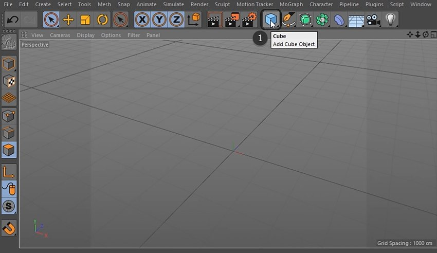Clicking the Add Cube Object button