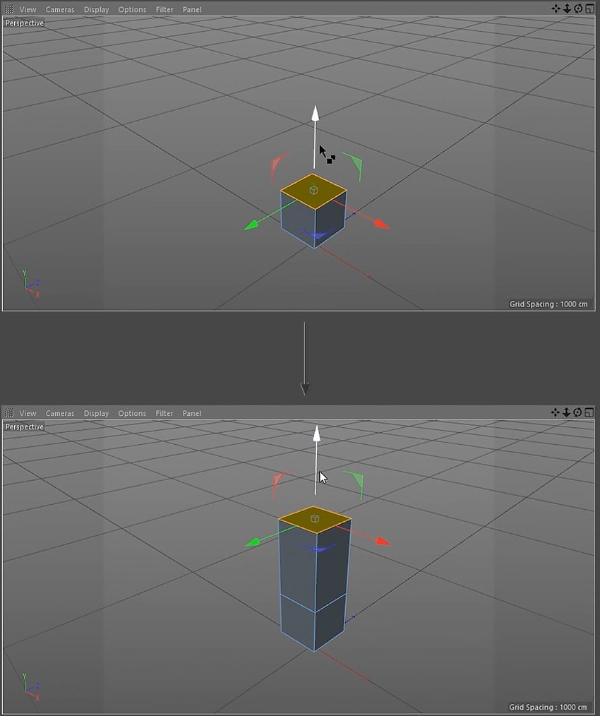 Extruding the polygons from the cube object