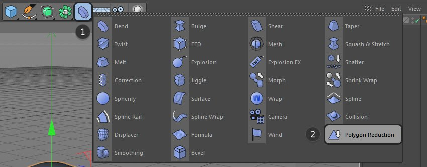 Selecting the Polygon Reduction button