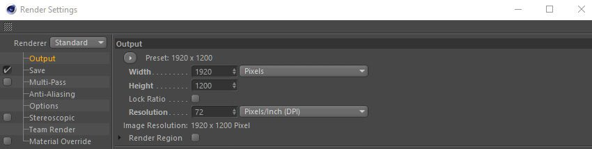 Adjusting the render settings for output