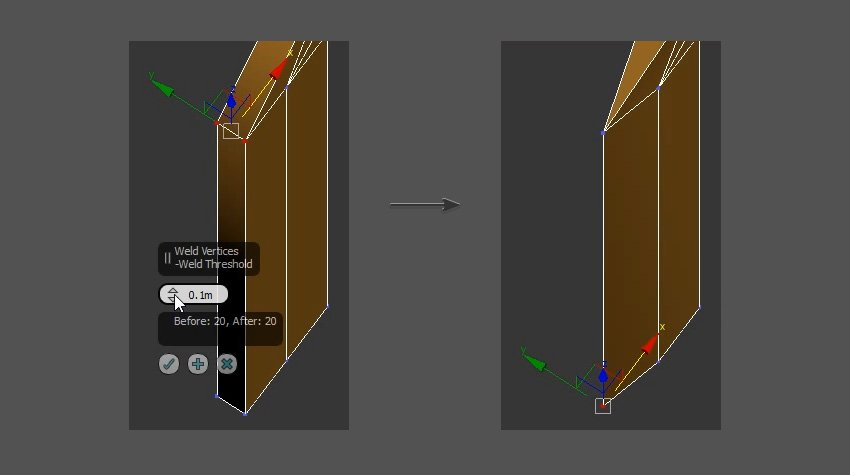 Weld the vertices to create the edge of the sword