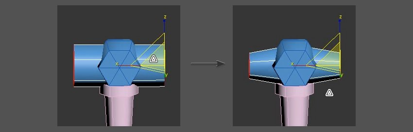 Using the scale tool on the sides of the object