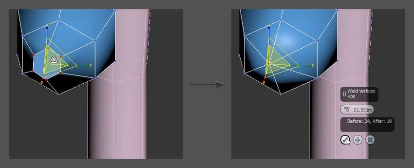 Welding vertices