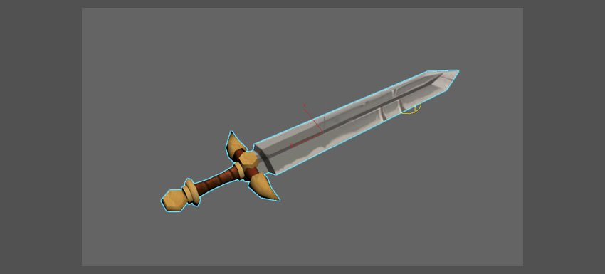 The texture map has been applied to the sword model