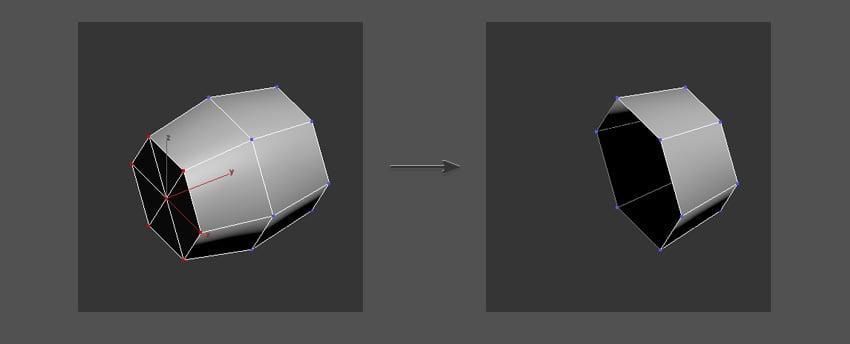 Delete half of the shape