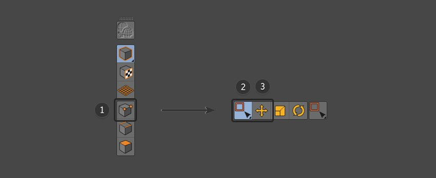 Combine the points button with the move and selection tools