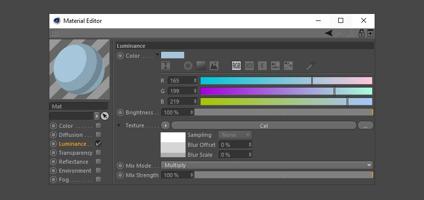 Creating the light grey colour material