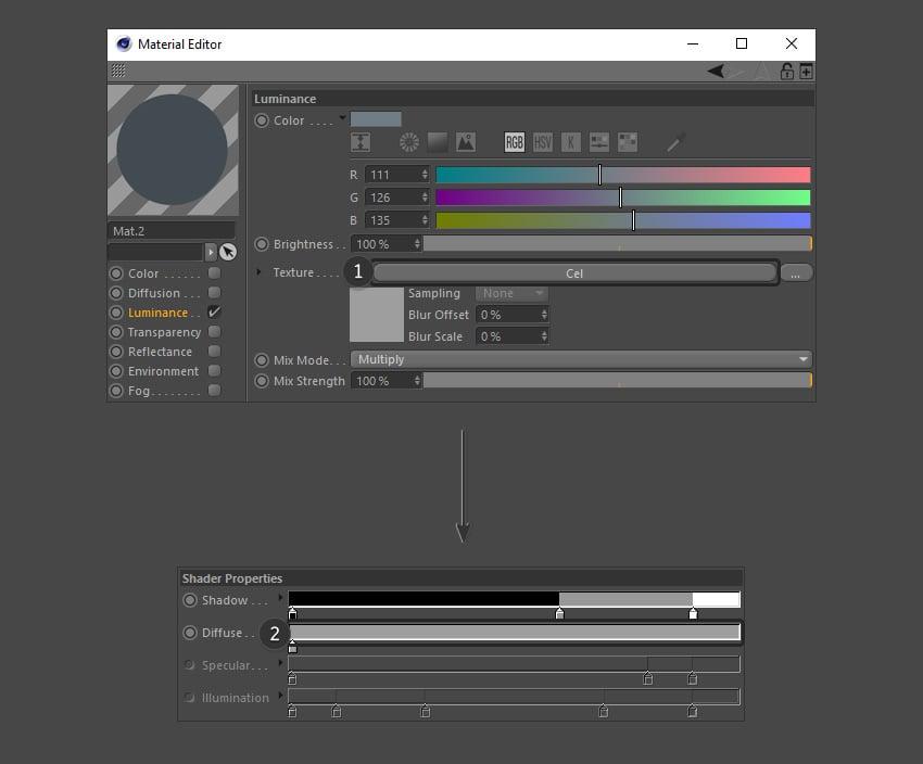 Editing the shading options