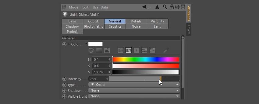 Editing the light properties