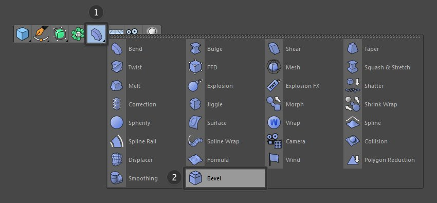 Select the Bevel tool from the menu