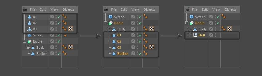 Rearrange the objects menu