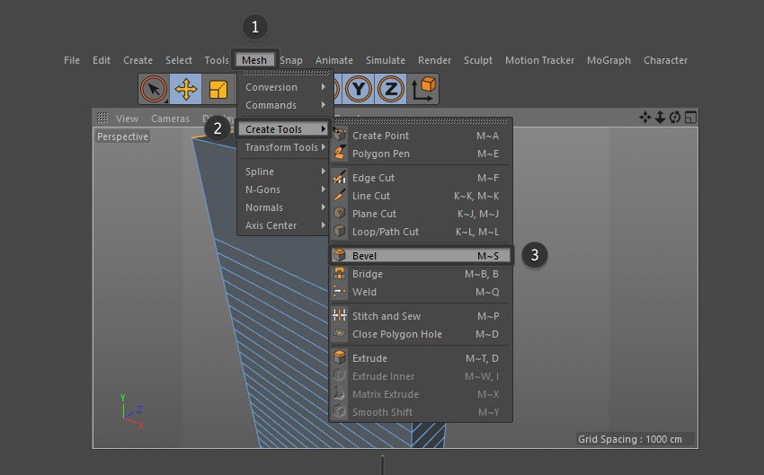 Select the Bevel Tool