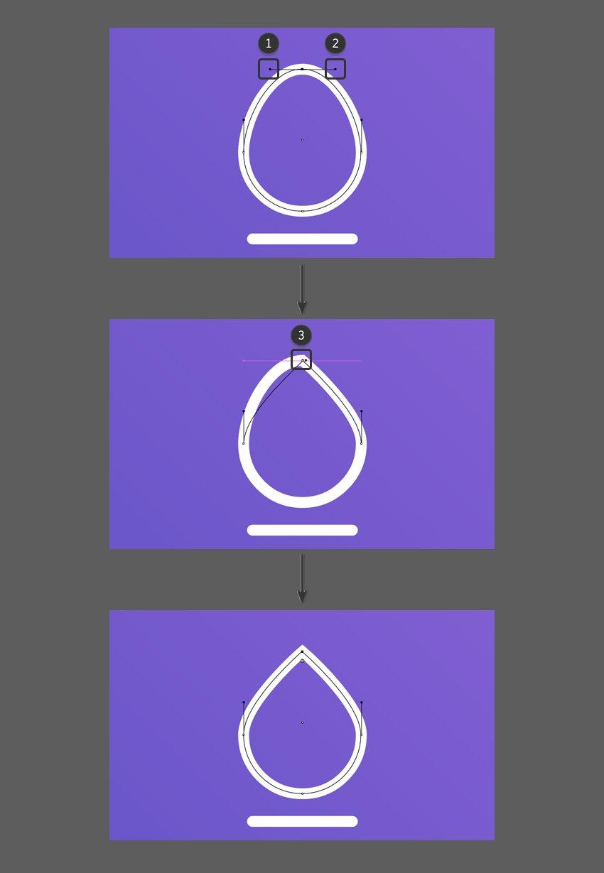 Edit the handle bars to create a tear drop shape