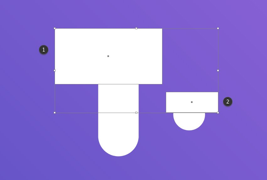 Place two rectangles above the new shapes