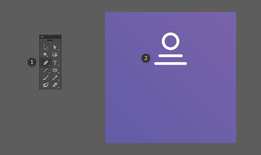 Use the Pen Tool to create two lines