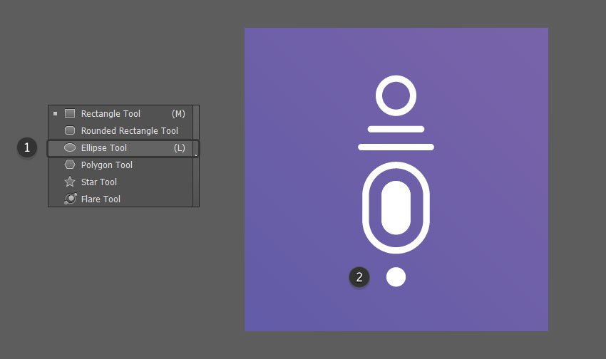 Use the Ellipse Tool to create a small circle