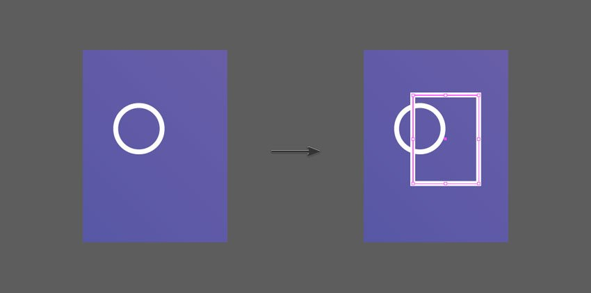 Create a rectangle on top of a circle
