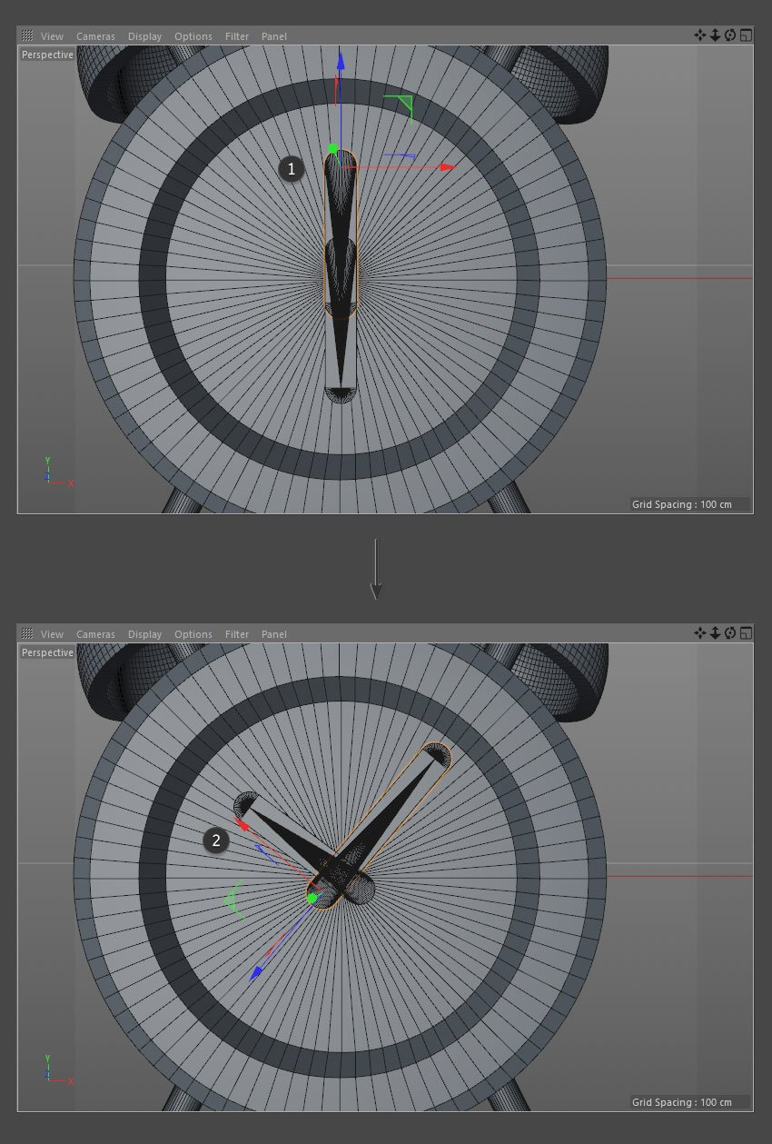Position the hand objects using the Rotate and Move Tools