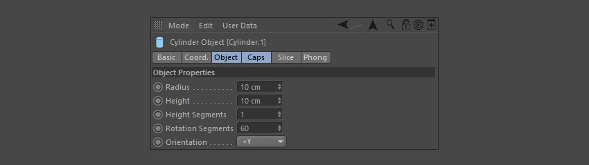 Adjust the properties of the Cylinder object