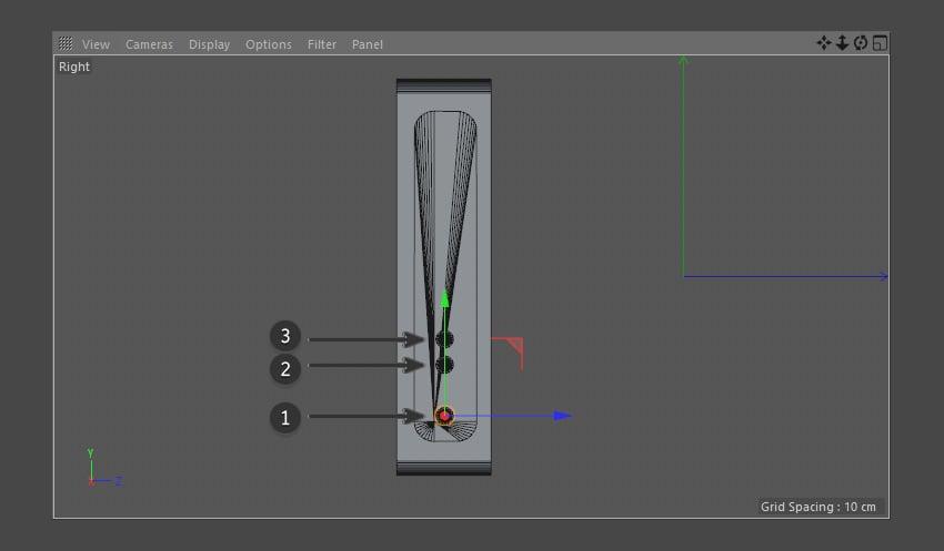 Create three additional cylinders