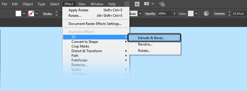 Select 3D extrude and bevel