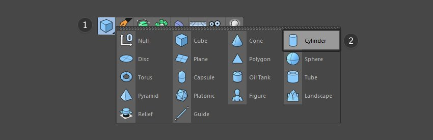 Select cylinder from top menu