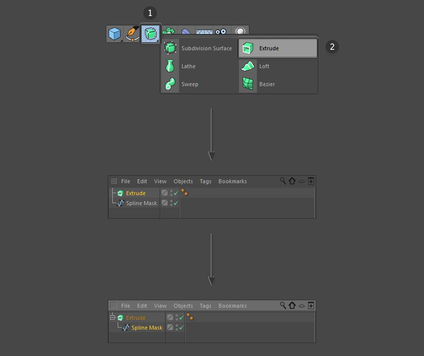 Select the extrude button from the top menu