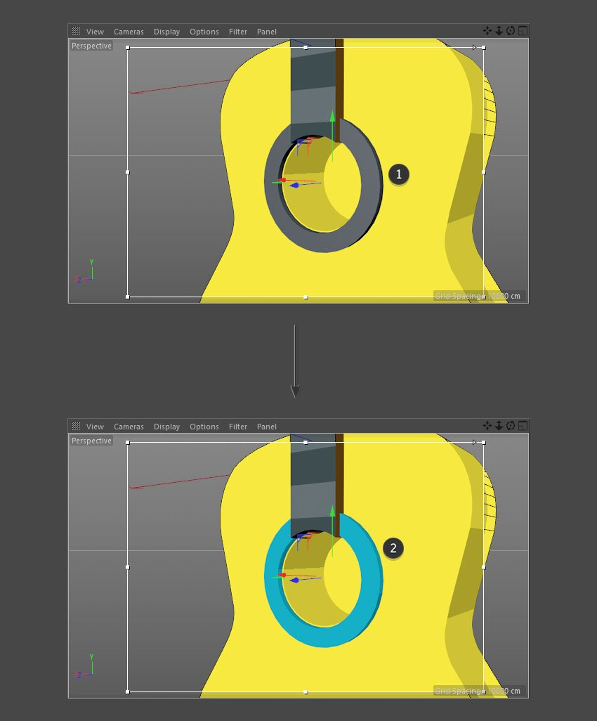 Apply new material to sound hole border