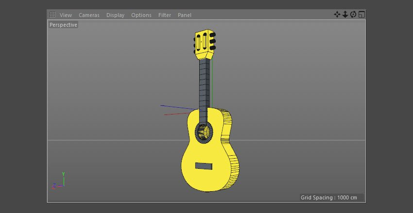 Apply the yellow material to the guitar