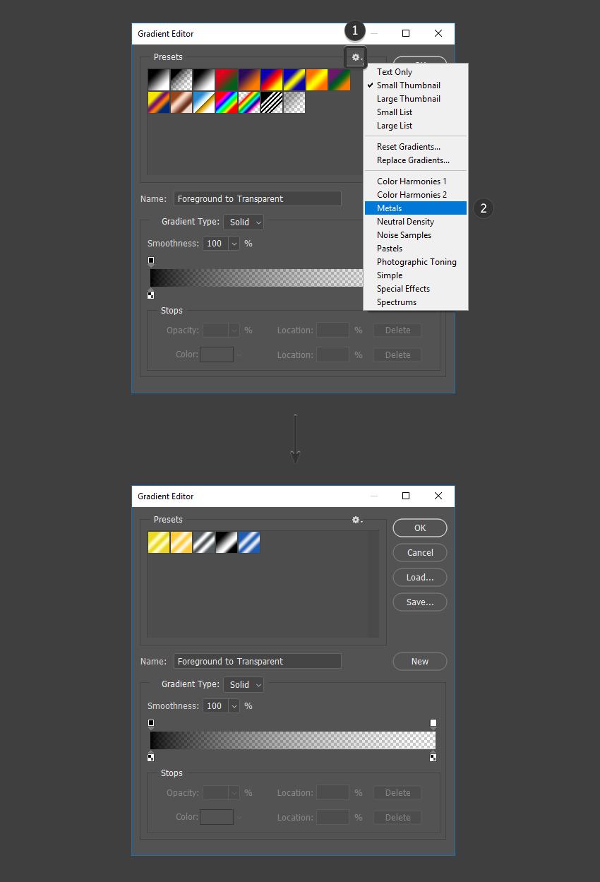 Select the metals preset