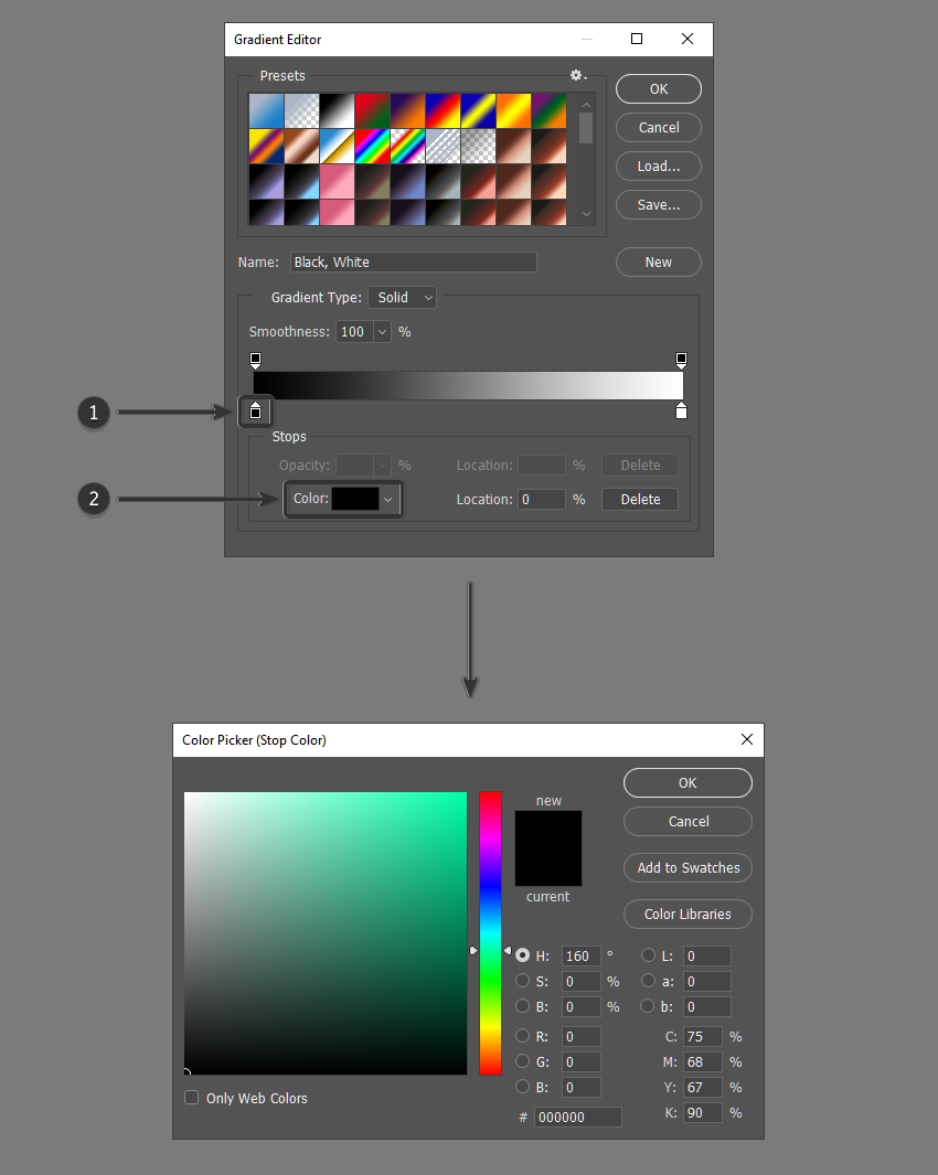 Select a new color for color stop