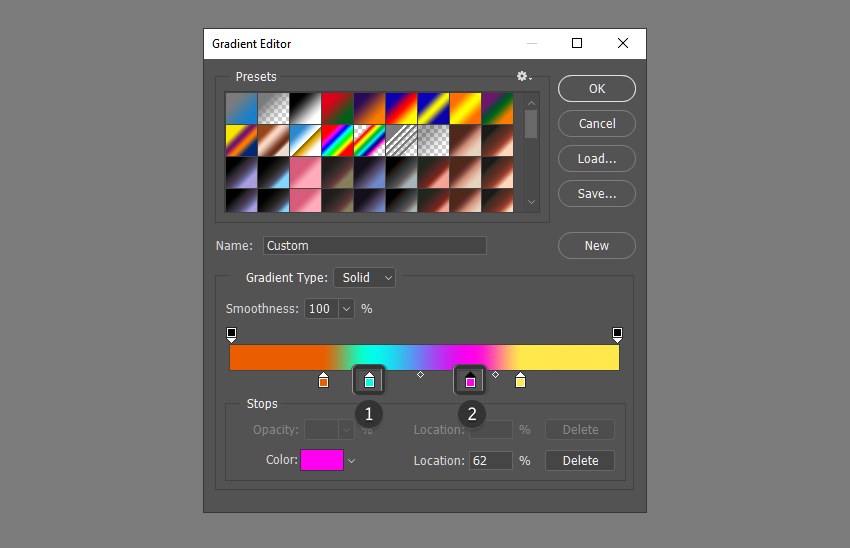 Add new colors to the gradient