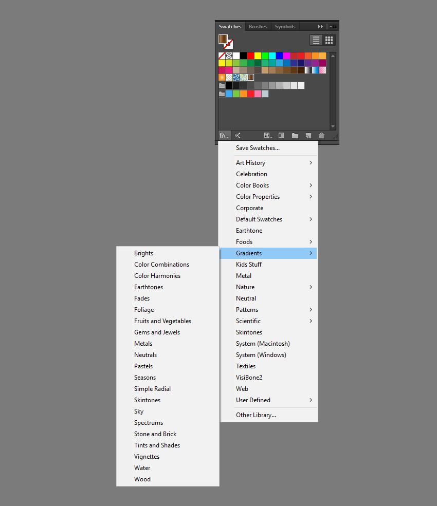 Navigate to gradients menu