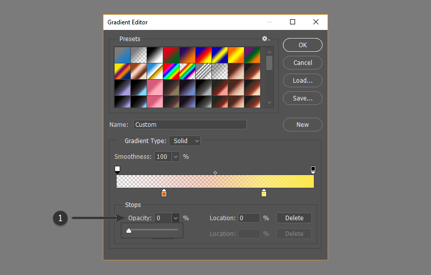Adjust opacity of gradient
