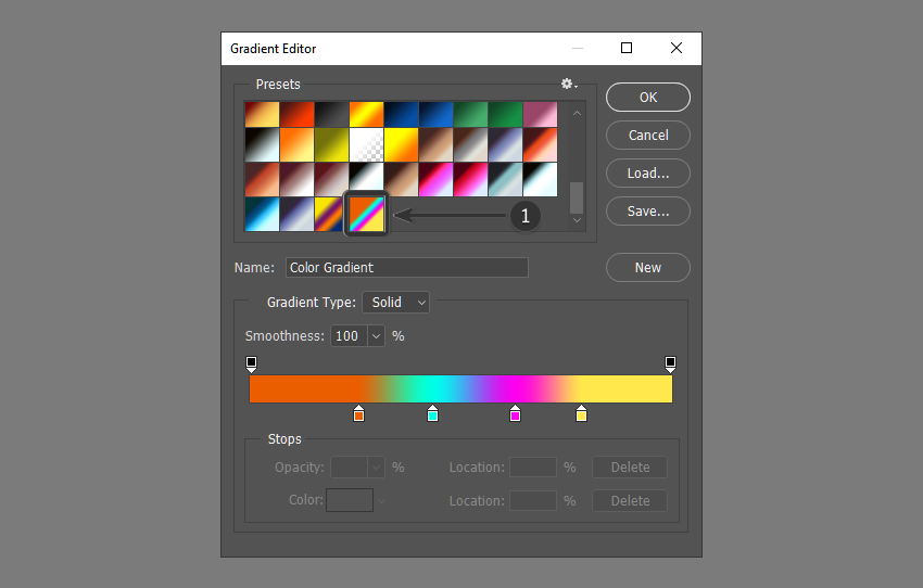 New gradient appears in the presets