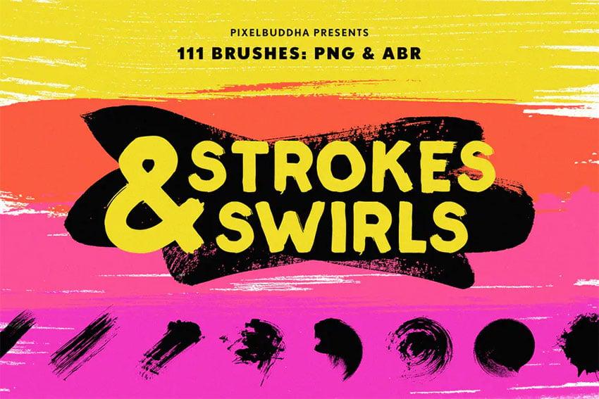 Swirls  Strokes Brushes Set